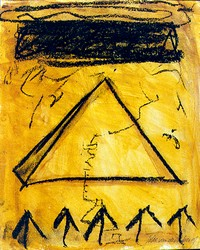 Joke van den Berg - Pyramid and black cloud on paper - Mixed media