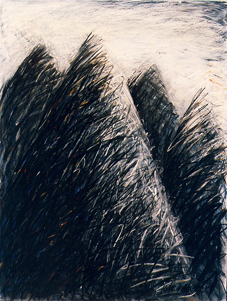 Joke van den Berg - Mountain peaks - Pastel on paper